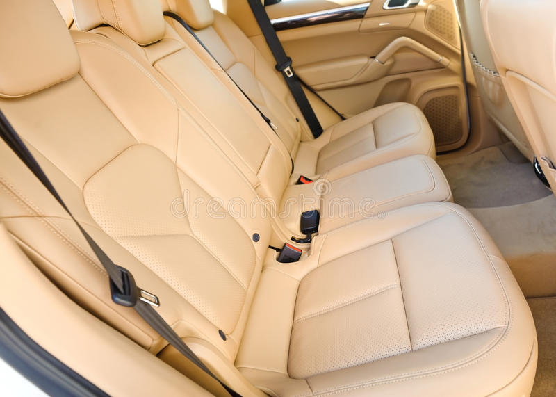 Car interior. Backseat leather beige royalty free stock image
