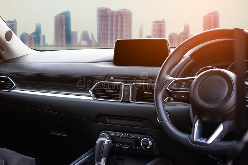 Car interior in the city for customer Using wallpaper or background for transport automotive with service automobile stock photos