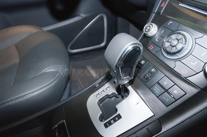 Car interior details. Steering wheel royalty free stock image