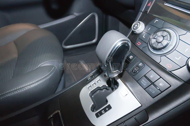 Car interior details. Steering wheel royalty free stock image