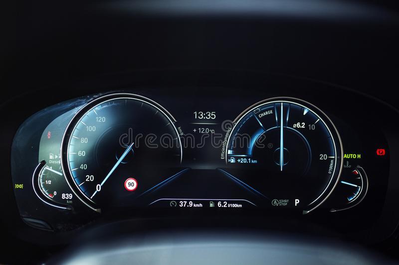 Car Interior: Digital Instrument Panel with Eco Pro Display. A Digital dashboard with digital instrument design. A digital TFT dial display with colourful stock image