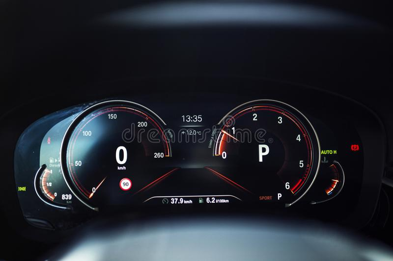 Car Interior: Digital Instrument Panel with Sport Display. A Digital dashboard with digital instrument design. A digital TFT dial display with colourful graphics royalty free stock photos