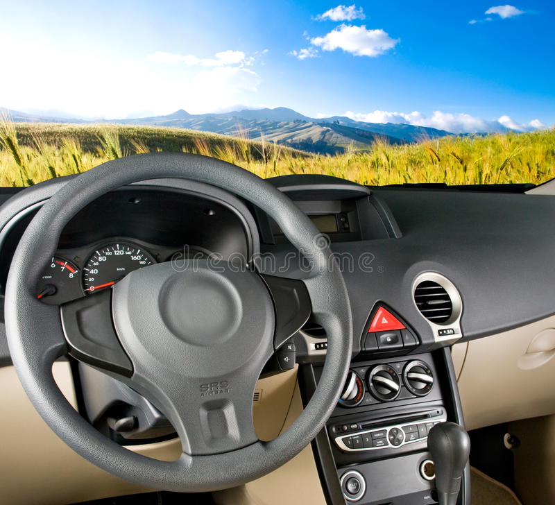 Car interior / landscape view stock photography