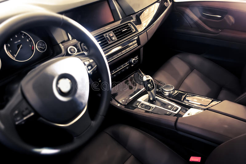 Car interior. The luxury car cab interior ,BMW royalty free stock photo