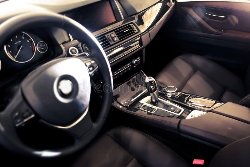 Car interior. The luxury car cab interior ,BMW royalty free stock photo
