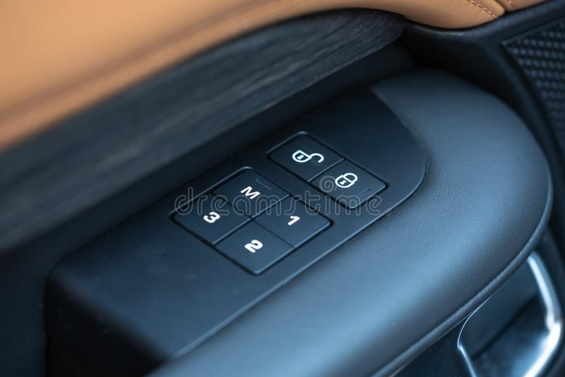 Car Interior Door and Seat Controls Panel. Car interior panel. Door and seat controls on Land Rover Discovery stock photo