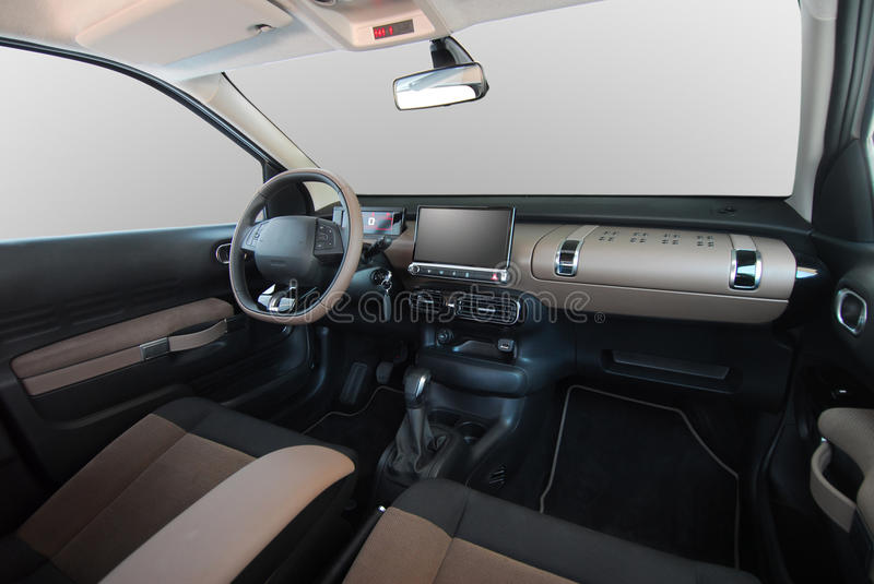 Car interior. Studio shot passenger car interior, front view royalty free stock images