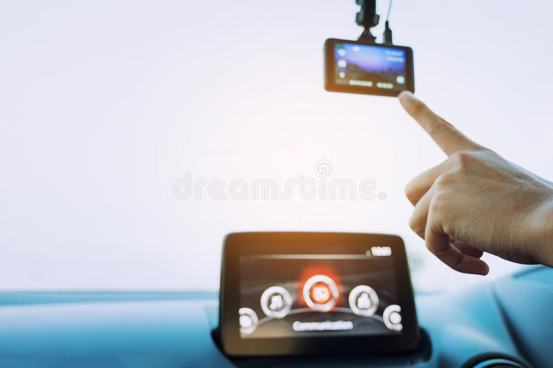 Car interior view for car camera, Hand-tuning car camera for safety on the road accident, Gps Navigationand and camera stock photography