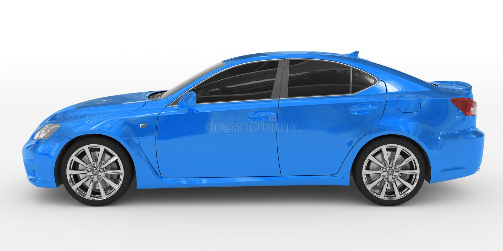 Car isolated on white - blue paint, tinted glass - left side vie royalty free stock photo
