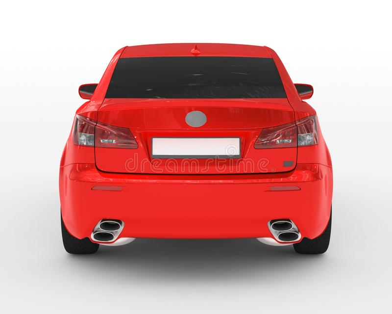 Car isolated on white - red paint, tinted glass - back view. 3d rendering stock photo