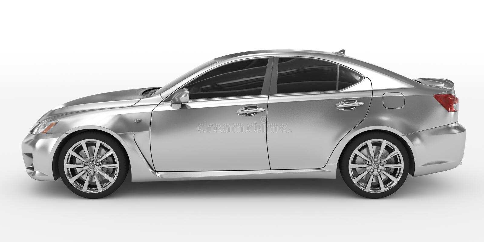 Car isolated on white - silver, tinted glass - left side view royalty free illustration