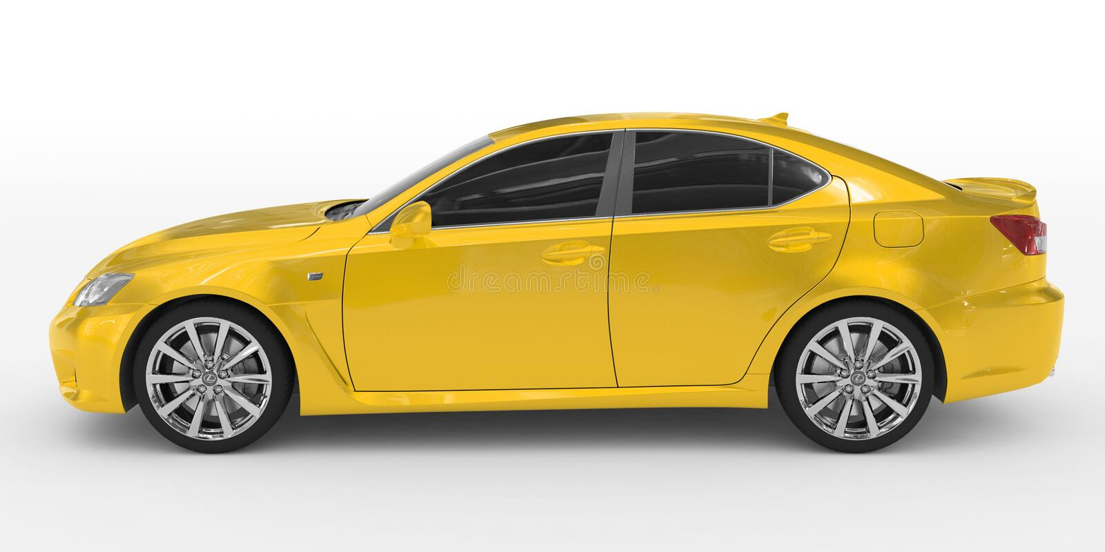 Car isolated on white - yellow paint, tinted glass - left side v royalty free illustration