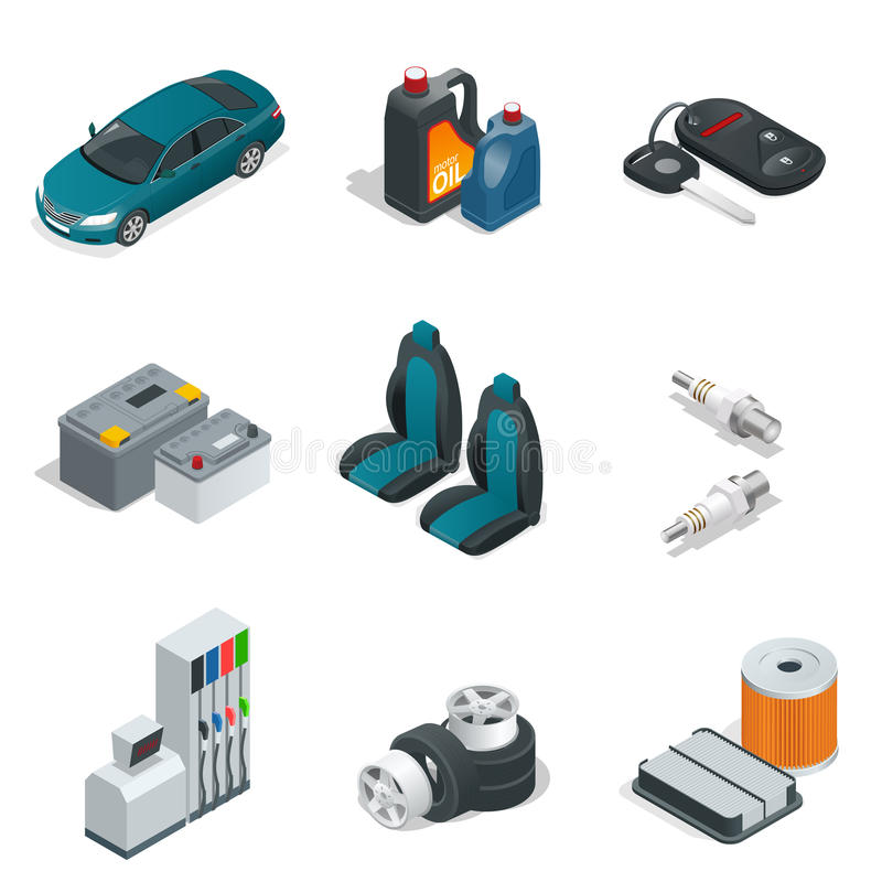 Car isometric elements. Car service maintenance icon. Flat 3d vector illustration. royalty free illustration