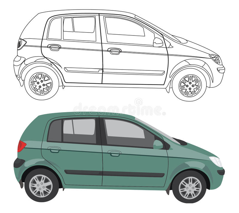 Car and its black contour isolated on white royalty free illustration