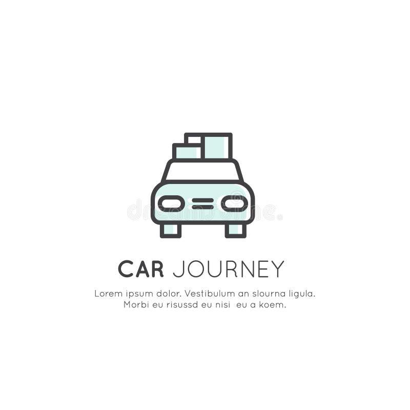 Car Journey, Camping Vacation, Delivery Service, Taxi Company,货物和后勤学概念商标  库存例证