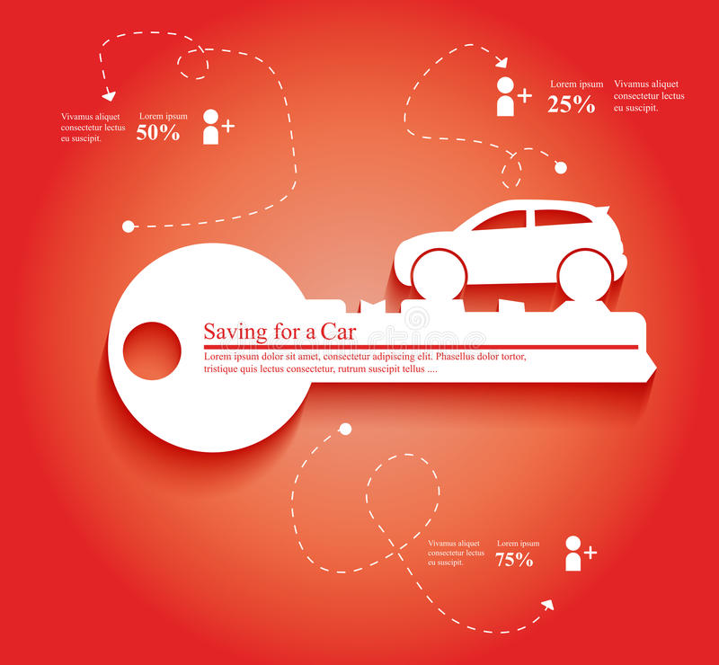 Car Key. Background saving or loaning for a car concept stock illustration