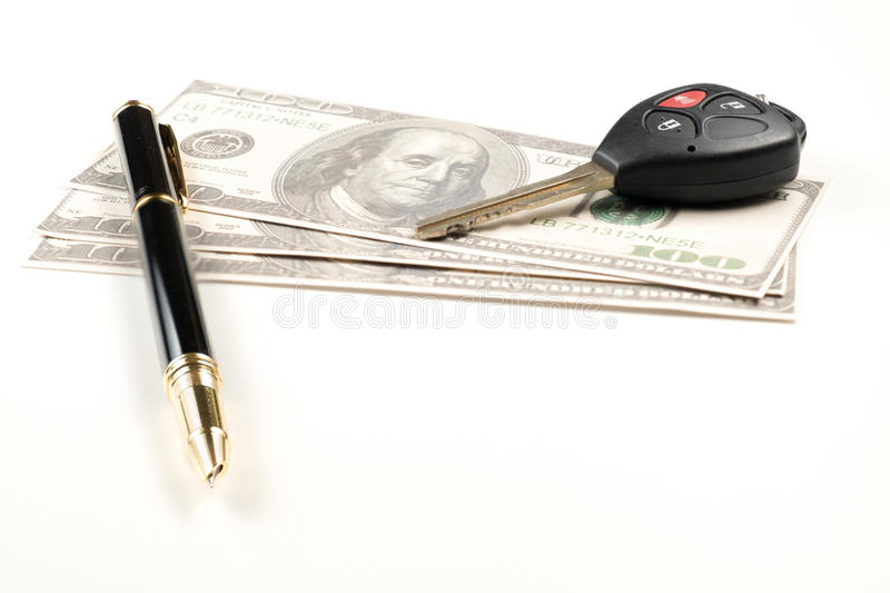 Car key business pen and money on white background for. Car key business pen and money for financial .car rent stock photos