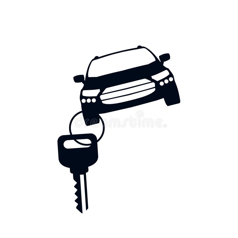 Car with key icon silhouette, buying a car or sales auto – vector royalty free illustration