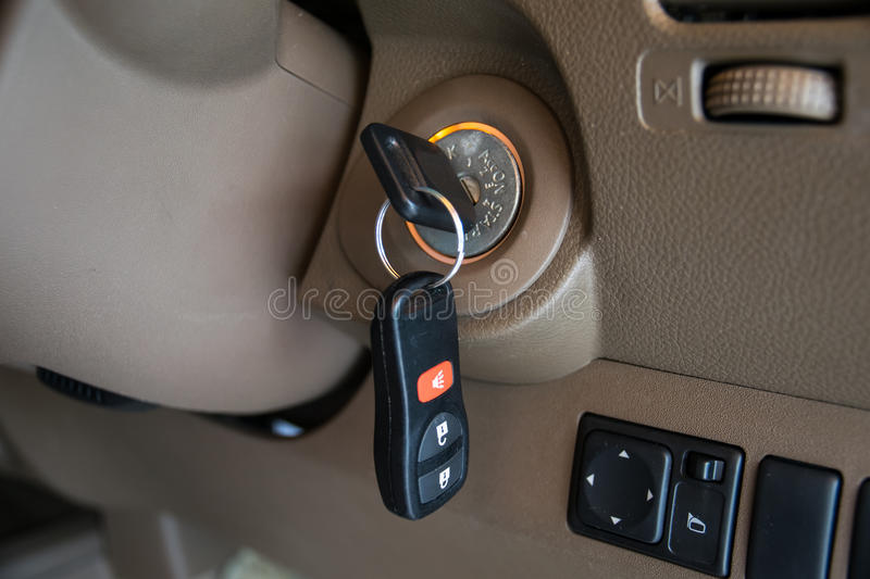 Car key in ignition start lock. Closeup royalty free stock photos