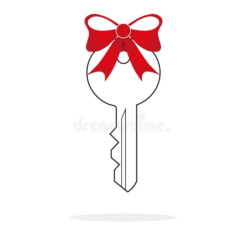 Car key prize icon in flat color style. Business automotive gift present love giving stock illustration