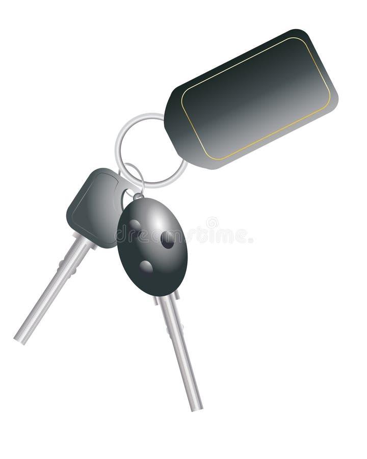 Car keys. An illustration of car keys with black name tag left blank for your design vector illustration