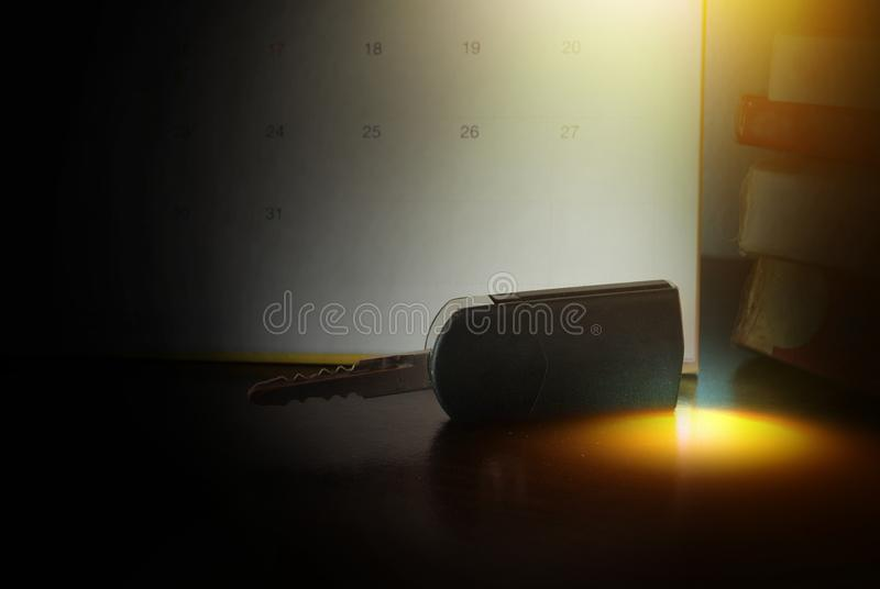 Driving test tomorrow. Car keys and calendar. Driving test tomorrow stock images