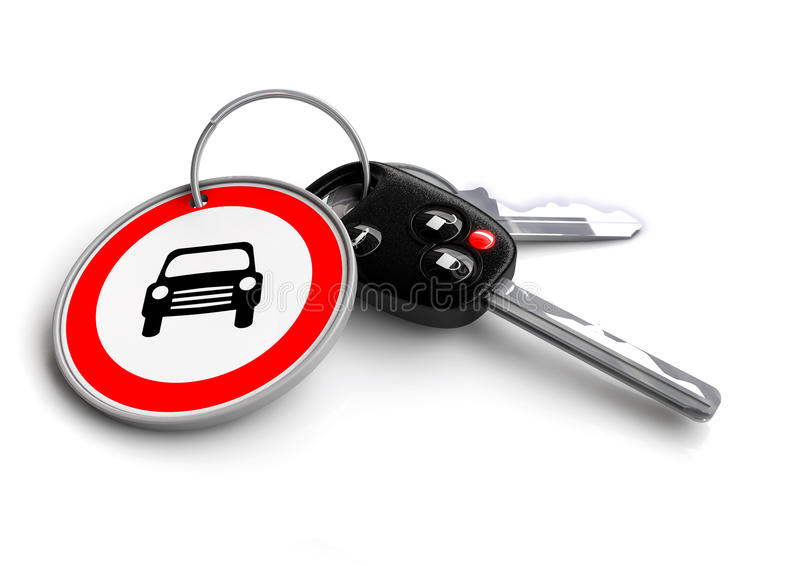 Car keys with car icon keyring. Concept for car ownership. Car keys with car icon keyring. Concept for vehicle ownership, buying a car, car owner or vehicle stock illustration