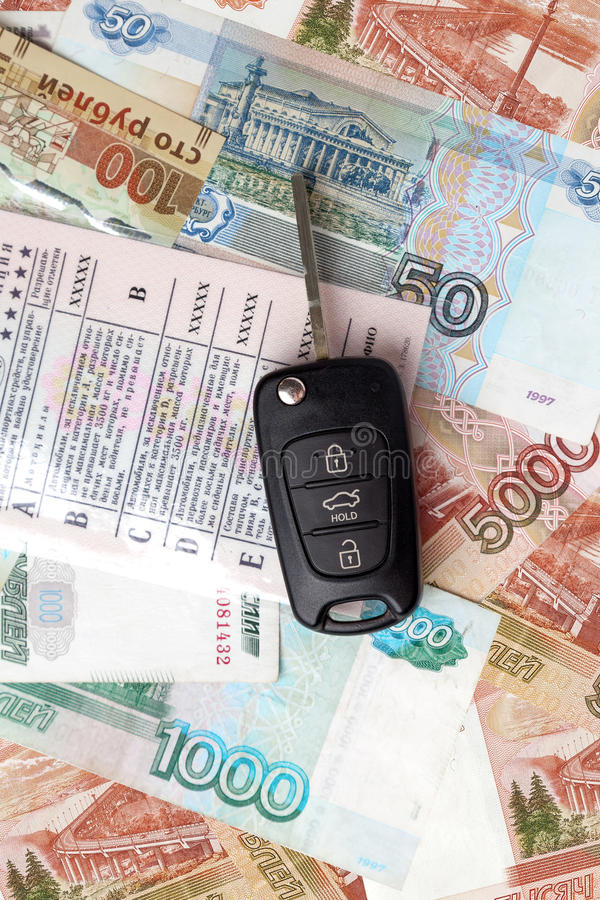 Car keys and driver's license. Car keys and economic business stock photography