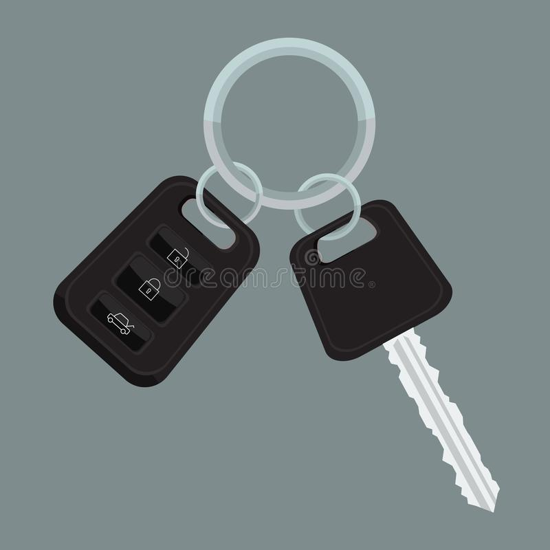 Vector Car keys with flat and solid color design. Car keys with flat and solid color design. Illustrated vector royalty free illustration