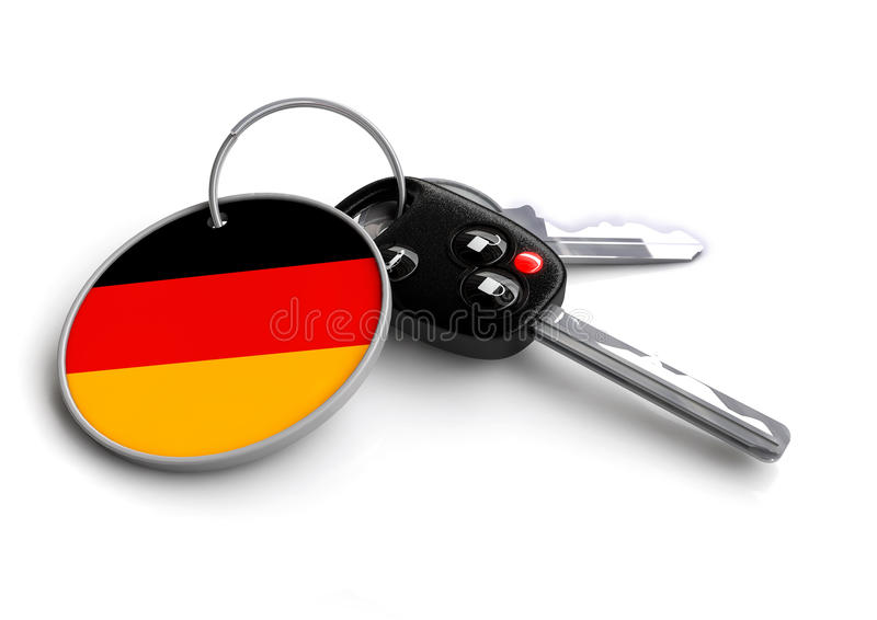Car keys with Germany flag as keyring. Car keys with German flag as keyring. Concept for cars manufactured and sold in Germany. German car brands and makes of stock illustration