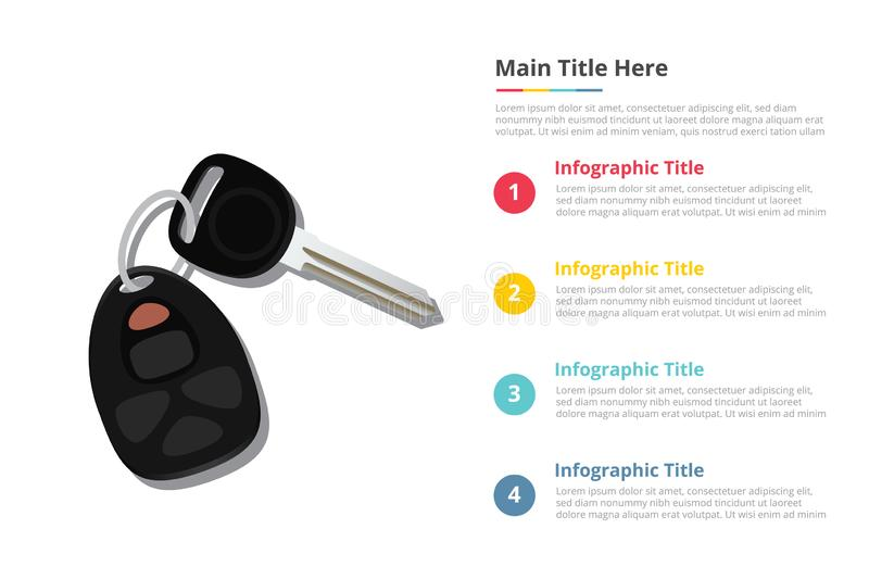 Car keys infographics template with 4 points of free space text description - vector. Illustration stock illustration