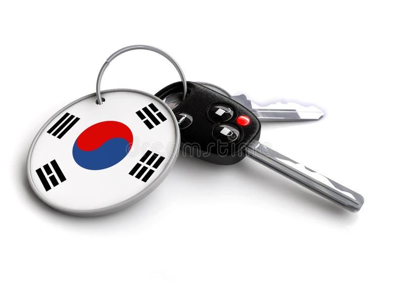 Car keys with Korea flag as keyring. Car keys with Korean flag as keyring. Concept for cars manufactured and sold in Korea. Korean car brands and makes of royalty free illustration