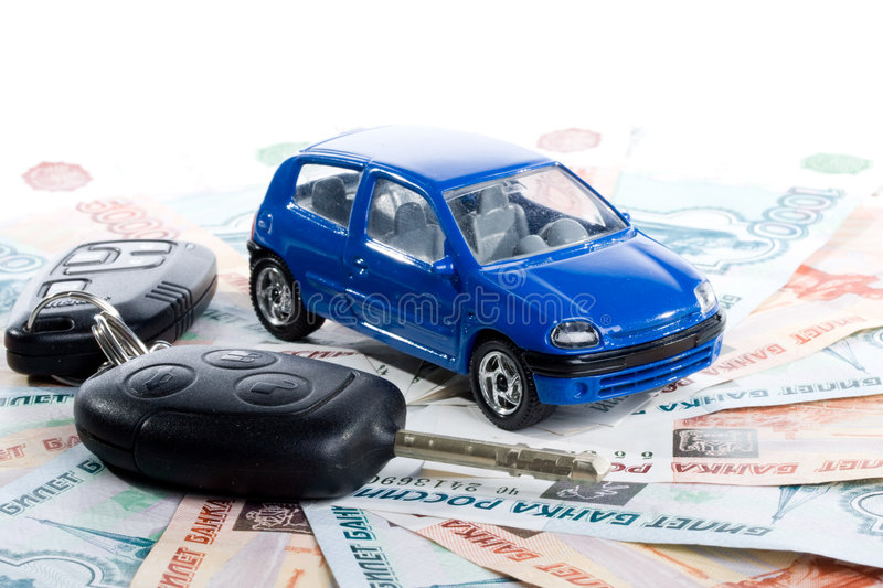 Car, keys and money. On a white background stock photography