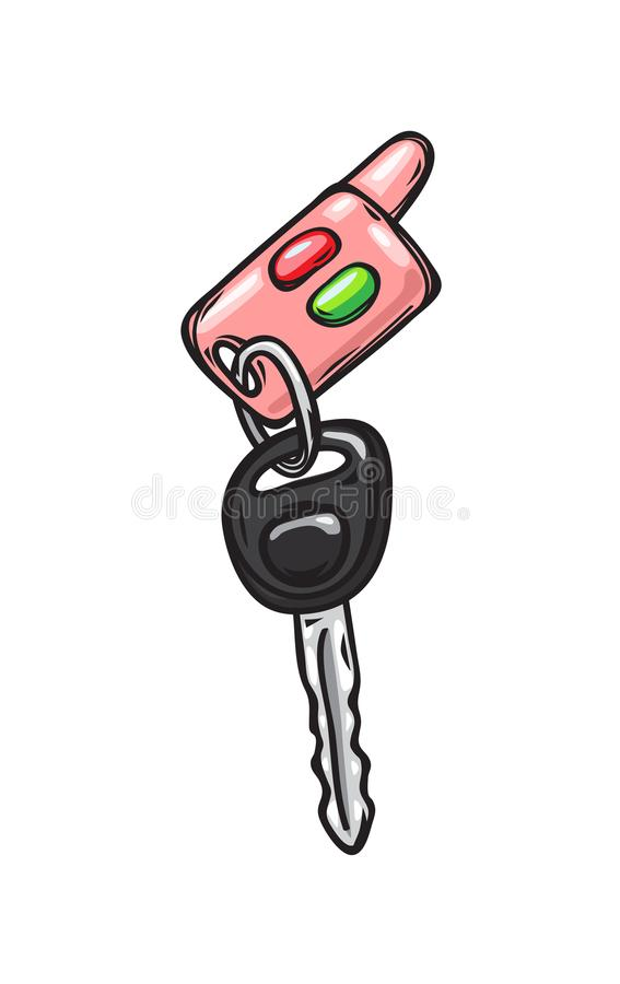 Glamorous Pink Car Keys Isolated Illustration. Car keys with red and green buttons from glamorous pink cabriolet isolated on background. Cartoon keys from royalty free illustration
