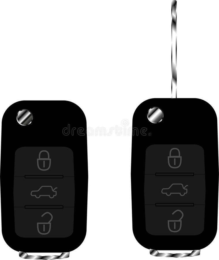 Car keys remote control black with metal. Button stock illustration
