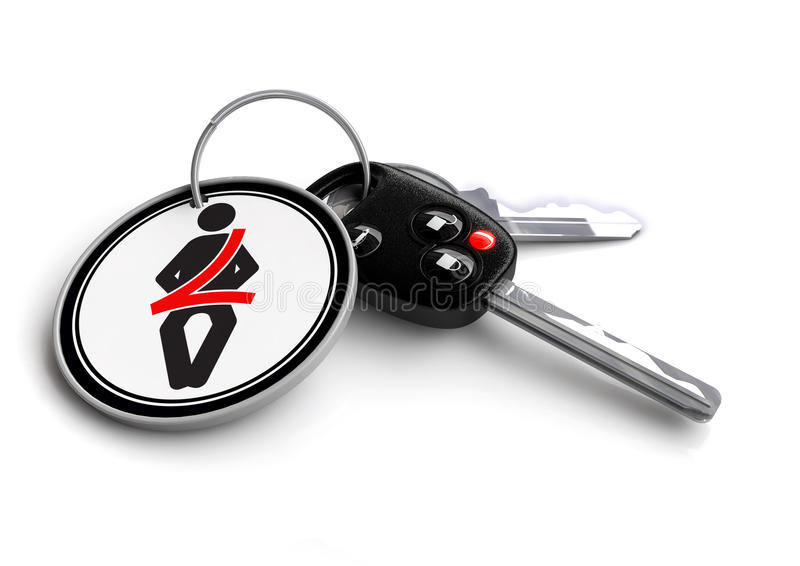 Car keys with seat belt sign on keyring. Concept for buckle up car safety.. royalty free illustration