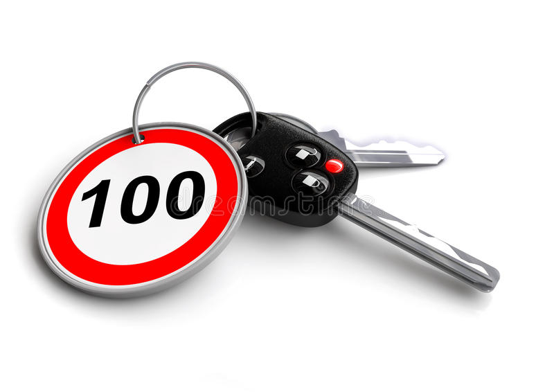 Car keys with speed limit road sign on keyring. Traffic rules, road rules, speed limits, responsible driving, road safety royalty free illustration