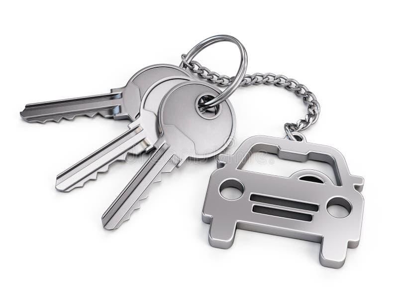 Car keys. On white background - 3d render stock illustration