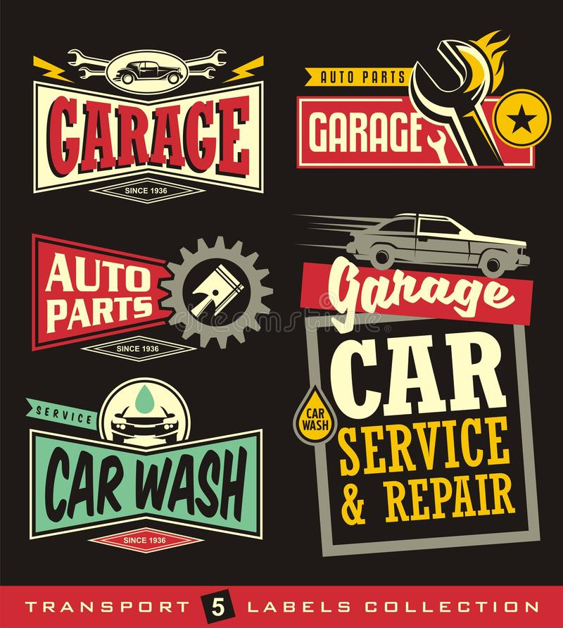 Car labels, signs, emblems, logos and stickers collection royalty free illustration