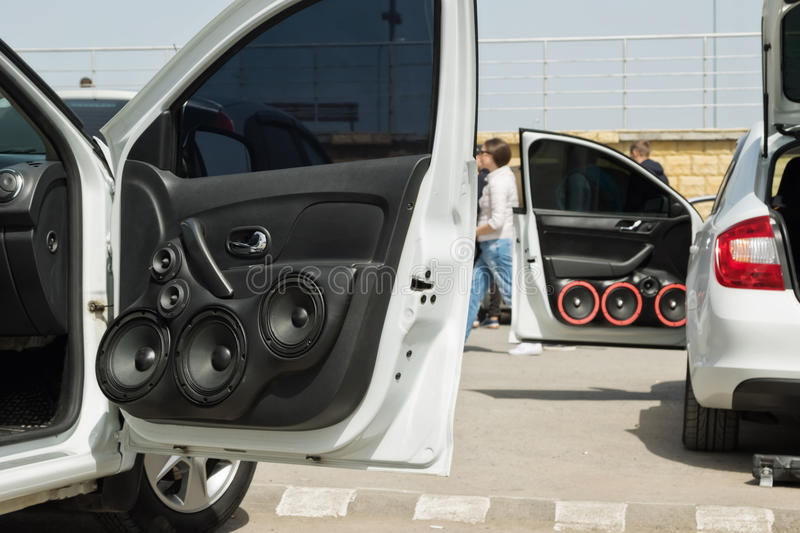 car with a large number of installed audio speakers and subwoofer stock image
