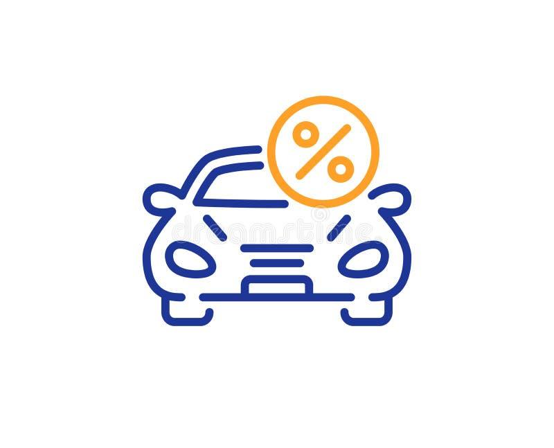 Car leasing percent line icon. Transport loan sign. Vector. Car leasing percent line icon. Transport loan sign. Credit percentage symbol. Colorful outline royalty free illustration