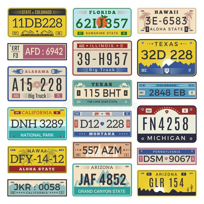 Free Car License Plates. Automobile Registration Numbers Vector Template Letters Royalty Free Stock Image - 135978596