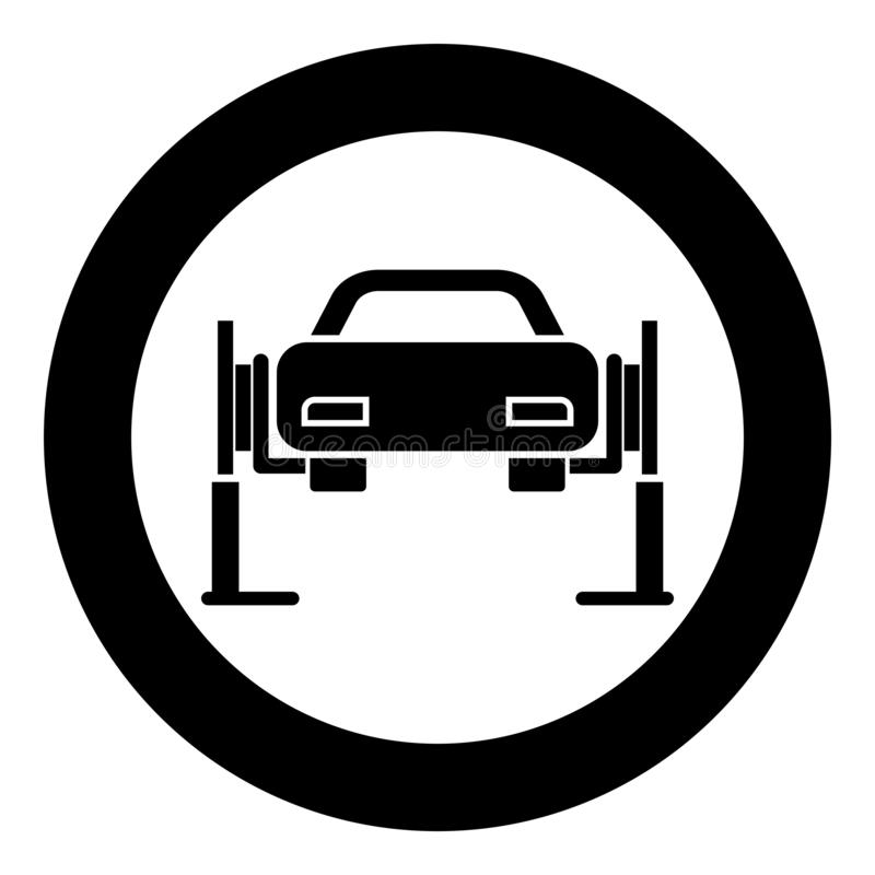 Car lift Car repair Service concept Car on fix lift Car lifted on auto lift icon in circle round black color vector illustration. Flat style simple image stock illustration