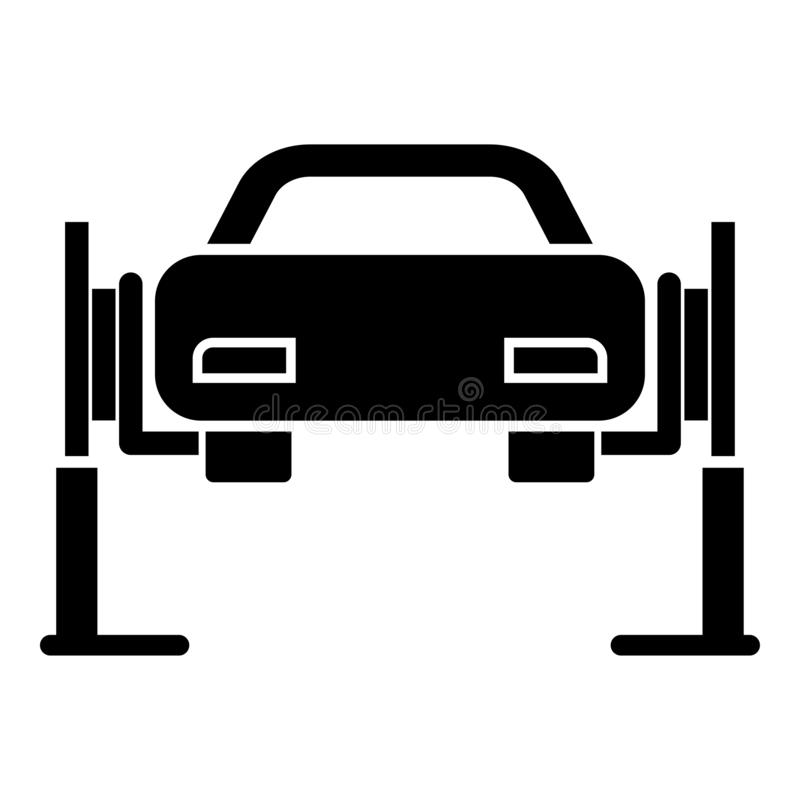 Car lift Car repair Service concept Car on fix lift Car lifted on auto lift icon black color vector illustration flat style image. Car lift Car repair Service royalty free illustration
