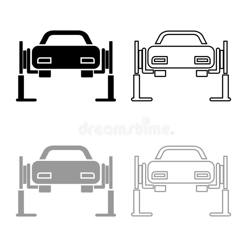 Car lift Car repair Service concept Car on fix lift Car lifted on auto lift icon outline set black grey color vector illustration. Flat style simple image stock illustration
