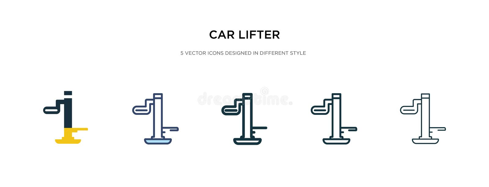Car lifter icon in different style vector illustration. two colored and black car lifter vector icons designed in filled, outline vector illustration