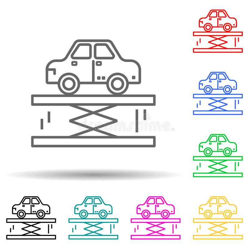 car lifter multi color style icon. Simple thin line, outline vector of cars service and repair parts icons for ui and ux, website royalty free illustration