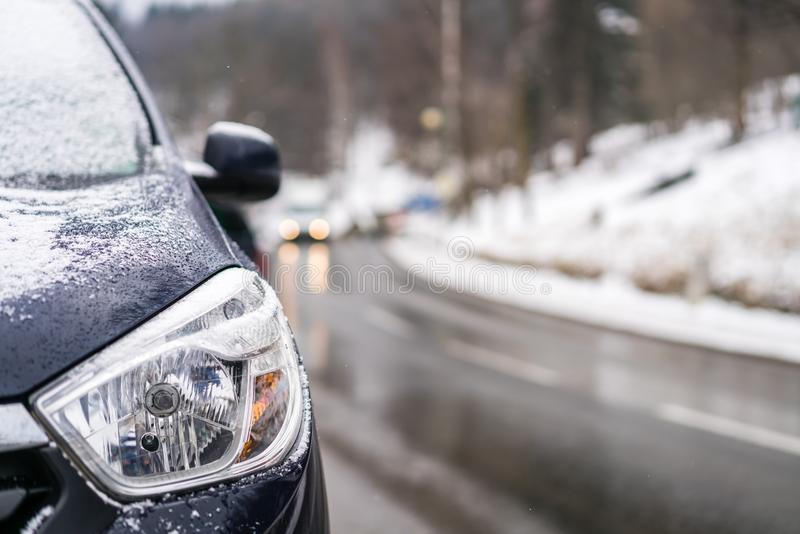Car light closeup in winter royalty free stock photos