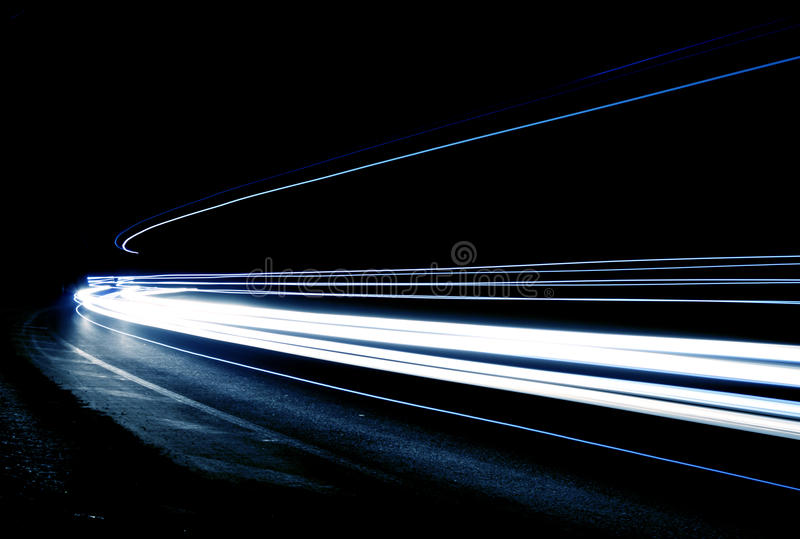 Car light trails stock photography