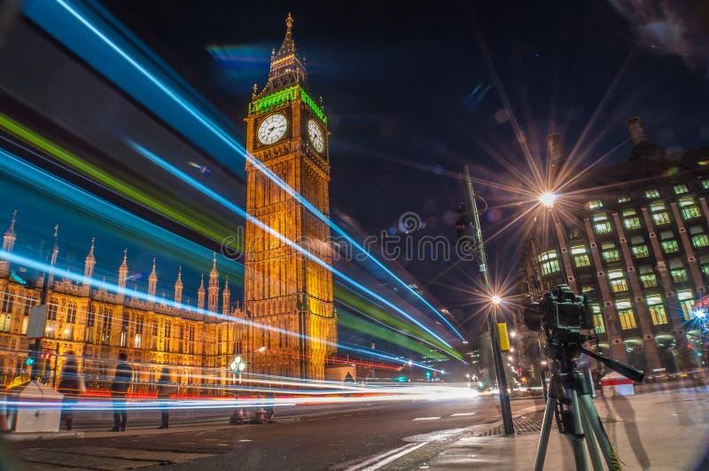 Car light trails at Big Ben royalty free stock images
